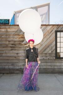Kerry-Ann-Stokes-fuchsia crown-leather jacket- floral tulle skirt