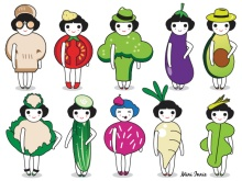 Fashion and Vegetables character illustration set