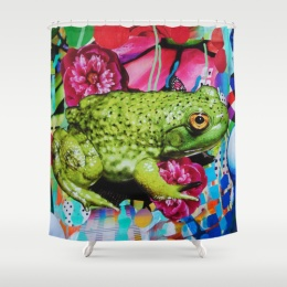 Floral Frog Shower Curtain