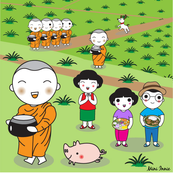 thai-people-making-merit-to-monks-illustration