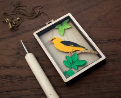 Paper cut jewelry - Golden Oriole