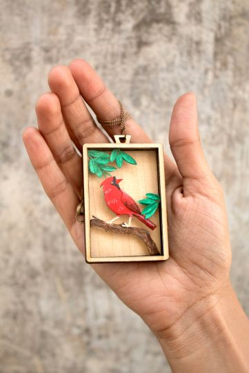 Paper cut jewelry - Red Cardinal